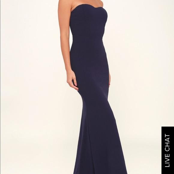 59beeca8b02d Lulu's Dresses | Lulus Navy Blue Strapless Maxi Dress | Poshmark